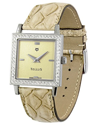Tellus Vintage gold Ziffernblatt Armband Beige aus Echtes Pythonleder in Schweiz hergestellt T5067DI 111