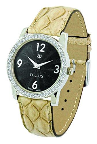 Tellus Vintage schwarz Ziffernblatt Armband Beige aus Echtes Pythonleder in Schweiz hergestellt T5068DI 102