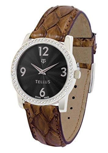 Tellus Vintage schwarz Ziffernblatt Armband Gold aus Echtes Pythonleder in Schweiz hergestellt T5068DI 105