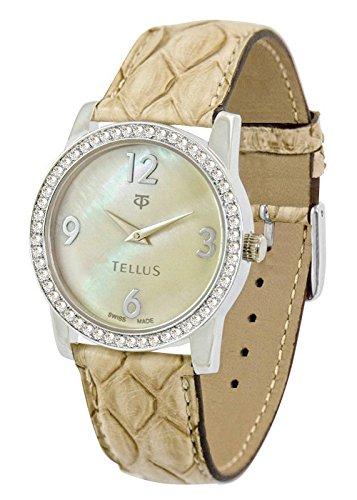 Tellus Vintage Beige perlmutter Ziffernblatt Armband Beige aus Echtes Pythonleder in Schweiz hergestellt T5068DI 108