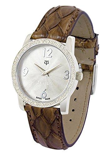 Tellus Vintage Silber Ziffernblatt Armband braun aus Echtes Pythonleder in Schweiz hergestellt T5068DI 119