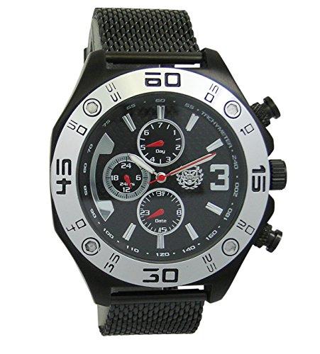 Kronwerk Herren Schwarz Armbanduhr Mesh Band Large Gesicht Multifunktion Tag Datum Sportarten Auflage AQ202827G