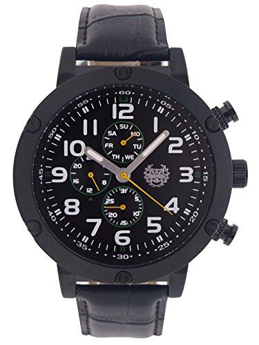 Kronwerk Schwarz grosses Gesicht leicht Lesen Leder Band Multifunktions Tag Datum reloj aq202802 1 G