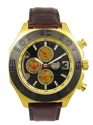 Kronwerk Herren Kleid Armbanduhr Braun Leder Band Gold Tone Fall Large Schwarz Dfue Tag Datum AQ202833G