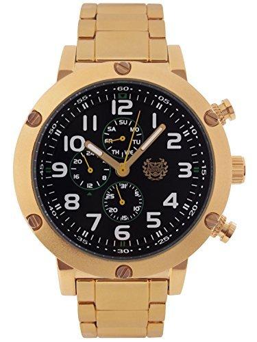 Kronwerk Herrenuhr Gold Ton Armband Schwarzes Zifferblatt Grosse Gesichtsmultifunktions Tag Datum AQ202793G