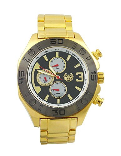 Kronwerk Herren Kleid Beobachten Gold Tone Stahl Armband Grosse Schwarz Gesichts Multifunktion Tag Datum AQ202823G