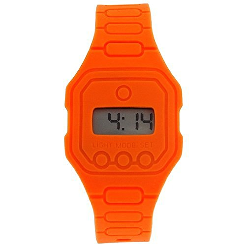 Pixelmoda Ops orange unisex flache im Trend liegende Digitaluhr wasserdicht