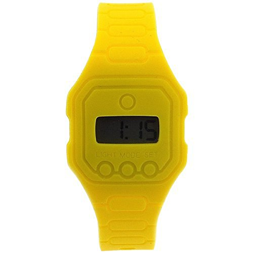 Pixelmoda Ops gelbe unisex flache im Trend liegende Digitaluhr wasserdicht