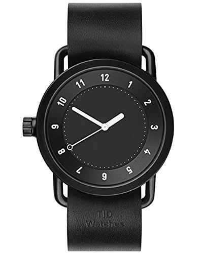 Tid Watches Analog Quartz Leder Schwarz 10010101