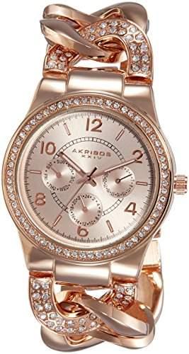 Akribos XXIV Damen Quarz Multifunktions-crystal-accented twist-chain Armbanduhr in Rosa Ton