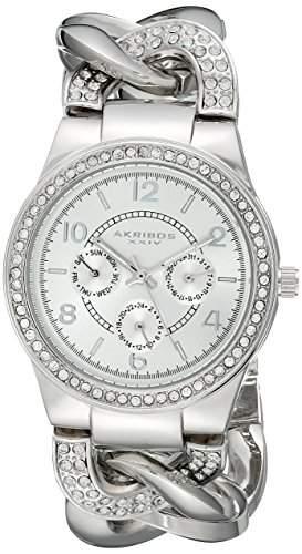 Akribos XXIV Damen-Armbanduhr Quarz-Kristall akzentuierten Twist Kette