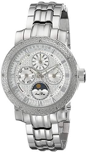 Akribos XXIV Damen-der grandiosen Diamant Multifunktions-Edelstahl-Armband Uhr