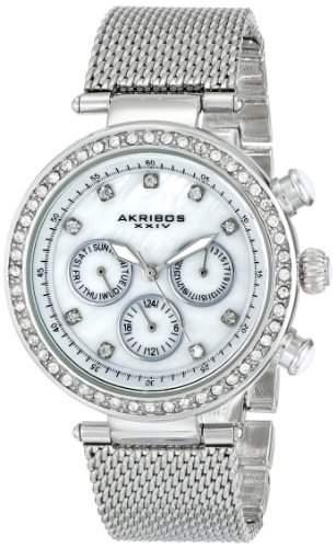 Akribos XXIV Damen-Armbanduhr Lady crystal-accented mit Edelstahl Mesh Armband
