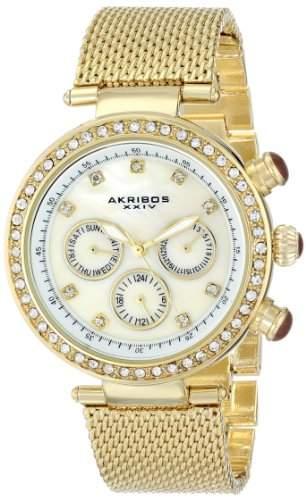 Akribos XXIV Damen-Lady Diamond Quarz Multifunktions Kristall Perlmutt Necklaces Halskette Edelstahl Mesh Armband Armbanduhr