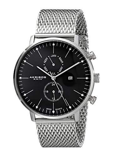 Akribos XXIV Herren ak685ssb Ultimate Analog Display Swiss Quartz Black Watch