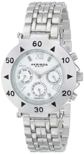 Akribos XXIV Damen Conqueror Schweizer Quarz Multifunktions Diamant akzentuierten silberfarbenes Armband Armbanduhr