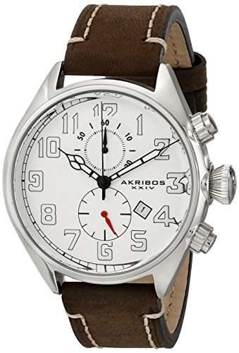 Akribos XXIV Herren s Essential Edelstahl Uhr mit Braun Leder Band