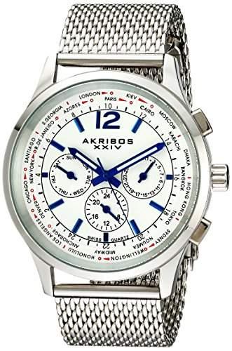 Akribos XXIV Herren Explorer Edelstahl Multifunktions-Uhr mit Mesh Armband