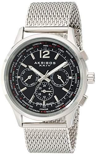 Akribos XXIV Herren Explorer Edelstahl Swiss Multifunktions-Uhr mit Mesh Armband