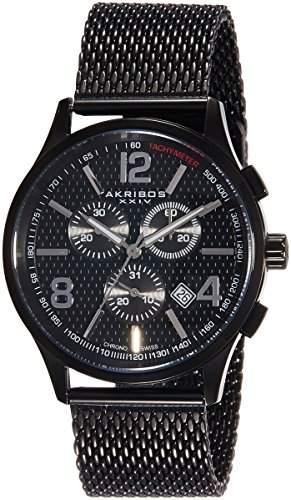Akribos XXIV Herren-Armbanduhr MenS Quartz Stainless Steel Mesh Bracelet Watch Analog Quarz AK719BK
