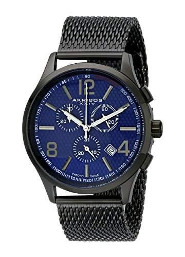 Akribos XXIV Herren s Ultimate schwarz Edelstahl Armbanduhr