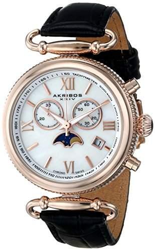 Akribos XXIV Damen-Armbanduhr Ultimate Analog Quarz AK754BKR