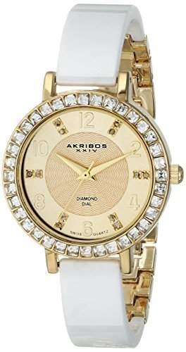 Akribos XXIV Damen Diamant und crystal-accented Uhr mit weissem Keramik Armreif