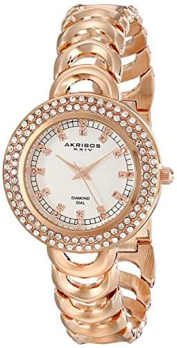 Akribos XXIV Amazon Exklusives Damen diamond-accented Rose goldfarbene Armbanduhr
