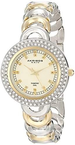 Akribos XXIV Damen-Armbanduhr Diamant und crystal-accented Metall mit zweifarbigen Armband
