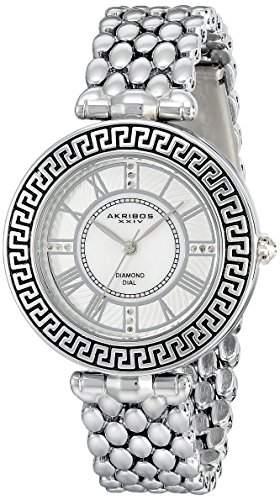 Akribos XXIV Damen silberfarbenes Uhr mit Link Armband