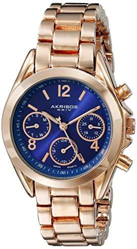 Akribos XXIV Damen-Armbanduhr Analog Display Swiss Quartz Rose Gold