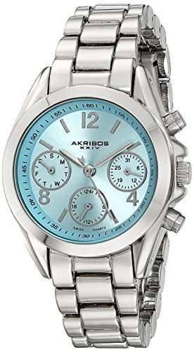 Akribos XXIV Damen-Armbanduhr Analog Display Swiss Quartz Silber