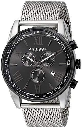 Akribos XXIV Herren Schwarz Metall Armbanduhr mit Edelstahl Mesh Band