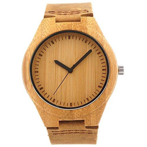 kkwell Holz Bambus Armbanduhr mit echtem Braun Lederband Quarz Analog mit Hochwertiges Miyota Uhrwerk