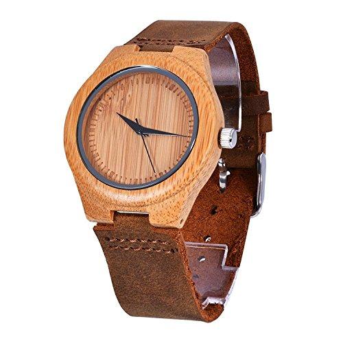 kkwell Holz Damen Armbanduhr Quarz Casual Bambus Holz Fall Braun Kalb Leder Band