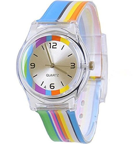 KKwell Lovely Kinderuhr Farbmuster 3D Quartz Uhr Cartoon Students Uhren Regenbogen