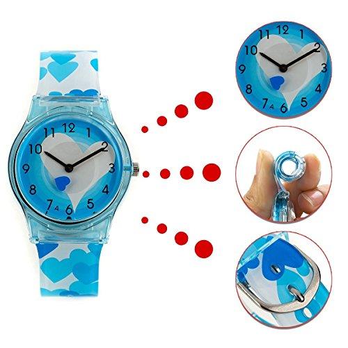 KKwell Weihnachtsgeschenke Lovely Kinderuhr Farbmuster 3D Quartz Uhr Cartoon Studenten Uhren blau