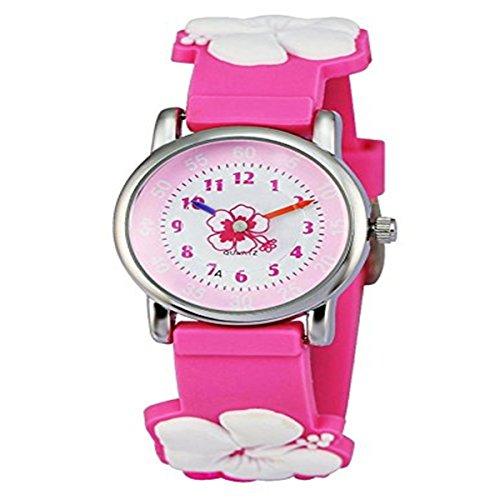 KKwell Weihnachtsgeschenke Lovely Kinderuhr Farbmuster 3D Quartz Uhr Cartoon Students Uhren Pink mit Blume