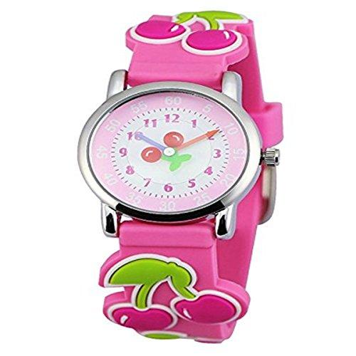KKwell Weihnachtsgeschenke Lovely Kinderuhr Farbmuster 3D Quartz Uhr Cartoon Students Uhren Pink mit Cherry
