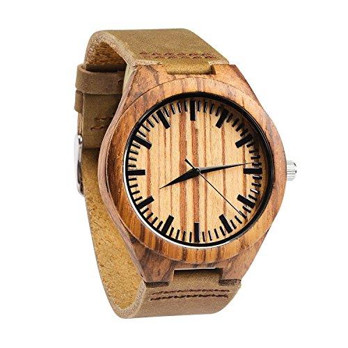 kkwell Herren Zebrano Holz Uhr mit echter braun Lederband Quarz Analog mit Qualitaet Miyota Bewegung 4 3 cm