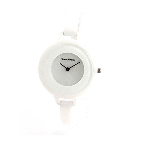 Damen Armbanduhr Keramik extra flach weiss 276