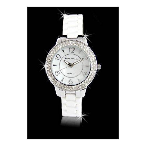 Damen Armbanduhr Keramik in weiss Seven Princess 412
