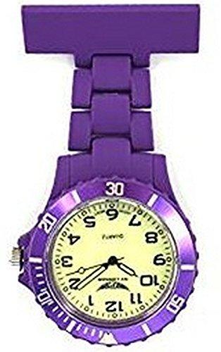 NY London dunkel violett mit hellen Gesicht Silikon gummierte Kunststoff Krankenschwester Taschenuhr Brosche zusaetzlichen Akku