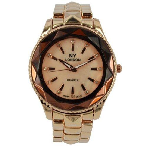 Prince London NY Damen stieg goldfarbenem Metall Uhr mit Luenette Funktion PI 7815