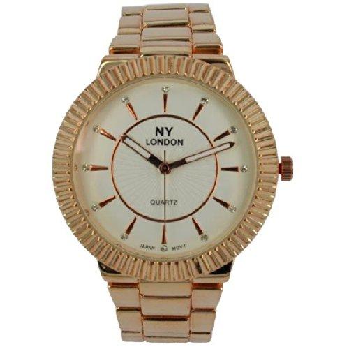 Prince London NY Damen stieg goldfarbenem Metall Uhr mit Luenette Funktion PI 7806