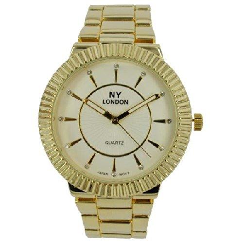 Prince London NY Damen goldfarbenem Metall Uhr mit Luenette Funktion PI 7806