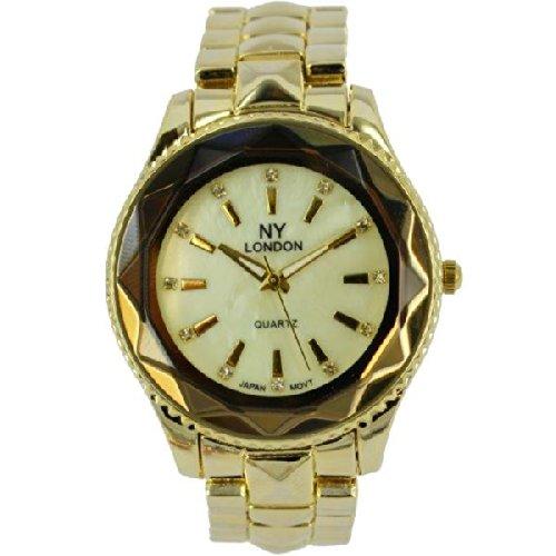 Prince London NY Damen goldfarbenem Metall Uhr mit Luenette Funktion PI 7815