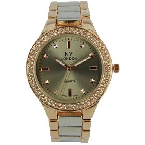 Prince London NY Damen stieg goldfarbenem Metall Uhr mit Stein Luenette und gebuerstetem Silber und Rotgold Armband PI 7805