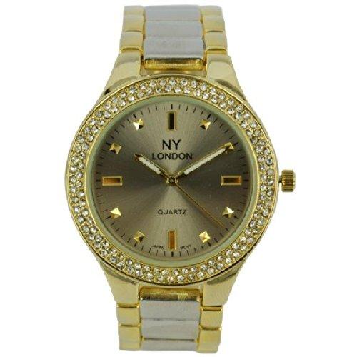 Prince London NY Damen goldfarbenem Metall Uhr mit Stein Luenette und gebuerstetem Silber und GoldbandPI 7805