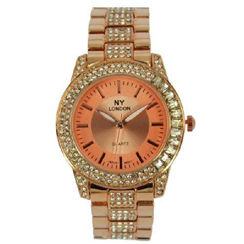 Prince London NY Damen stieg goldfarbenem Metall Uhr mit Stein Luenette und Armband PI 7803